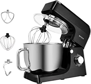 ROVSUN 7.5 Quart Stand Mixer, 660W 6-Speed Electric Tilt-Head Kitchen Food Mixer with Stainless Steel Bowl, Dough Hook, Beater, Whisk (Black)