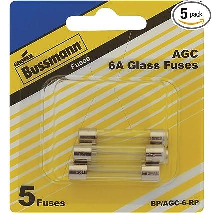 Bussmann BP//AGC-6-RP AGC Automotive Glass Fuse 1//4 X 11//4 6 Amp 5 Pack