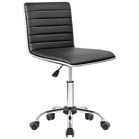Marvelous Homall Modern Adjustable Low Back Armless Ribbed Task Chair Office Chair Desk Chair Vanity Chair Swivel Rolling Leather Computer Chairs Conference Inzonedesignstudio Interior Chair Design Inzonedesignstudiocom