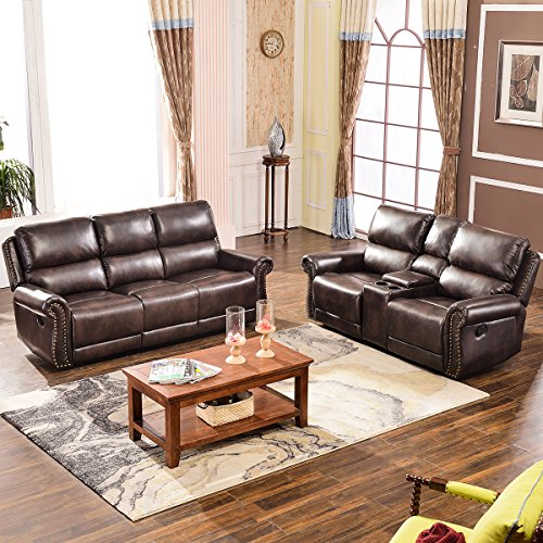 Harper & Bright Designs Sectional Recliner Sofa Set (Brown) (Loveseat & 3-Seat Recliner)