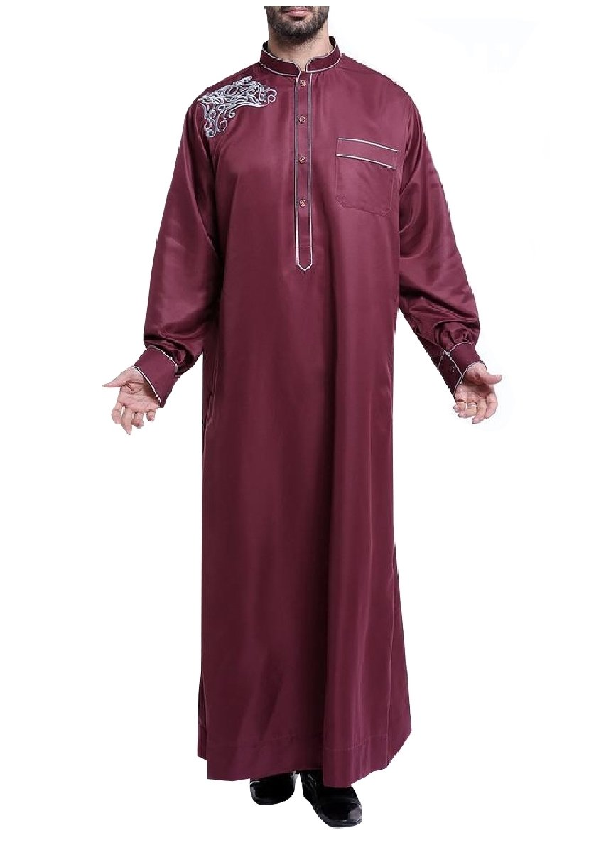 Coolred Mens Oversized Embroidery Long Sleeve Saudi Arabia Muslim Thobe Wine Red XS by Coolred-Men (Image #1)