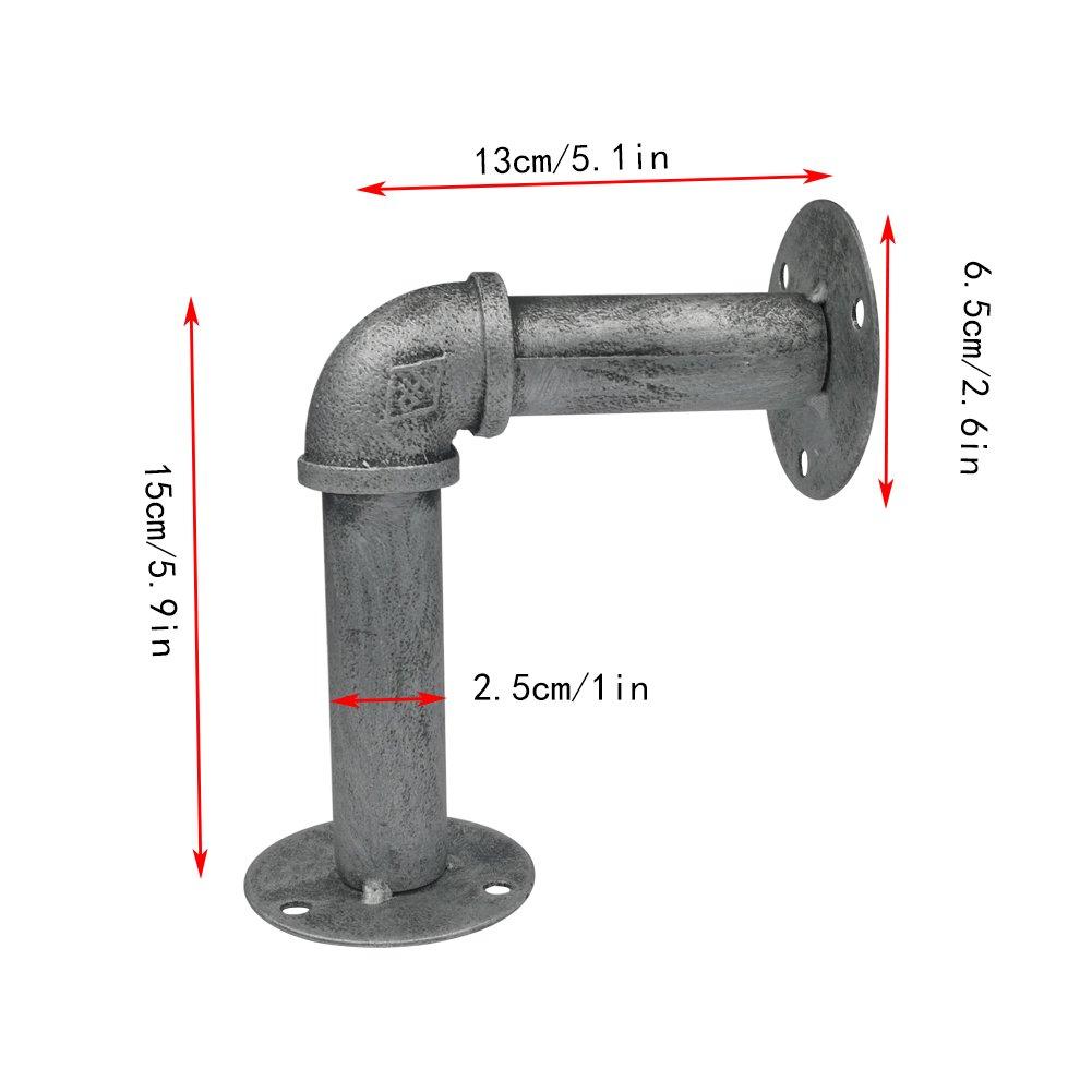 argento e nero 13//× 10/cm super Strong Iron pipe self staffe supporti per mensole a parete mensole