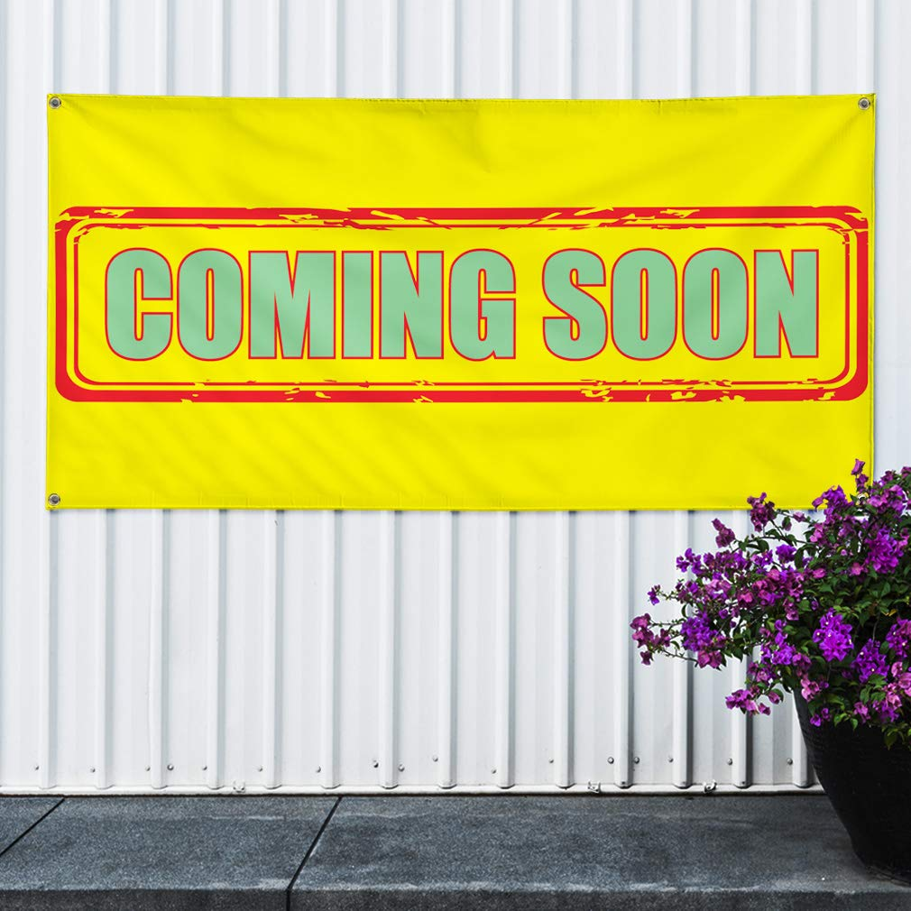 Set of 2 Vinyl Banner Sign Coming Soon Multiple Sizes Available #4 Business Coming Soon Marketing Advertising Yellow 6 Grommets 32inx80in