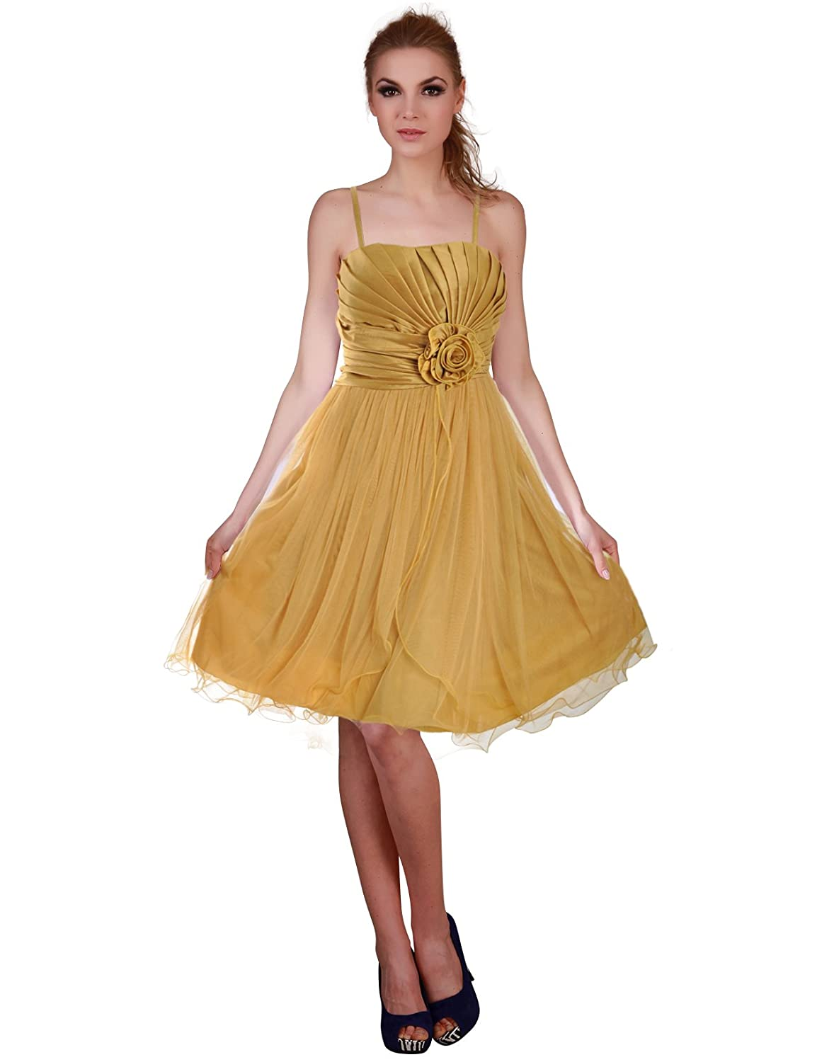 Donna Bella Split Tiered Prom Short Cocktail Bridesmaid Dress - Colour: Gold, Size: 10: Amazon.co.uk: Clothing