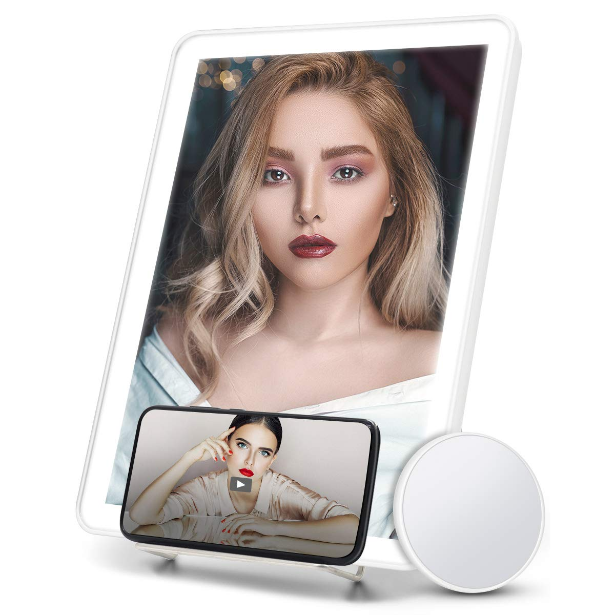 Portable touch light up LED Makeup Mirror with Phone Holder | 3 color lights | clever gift ideas for makeup lovers