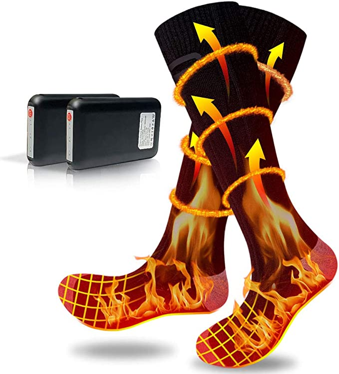 Amazon.com: YOYOSO Heated Socks for Men Women Rechargeable Washable, Winter Electric Heated Socks, Cotton Socks with Large Capacity Battery 4500mAh 3 Heating Settings for 25 Hours Heating Time: Sports & Outdoors