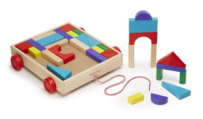36 Solid Wood Blocks with Pull-Along Cart on Wheels 4209 Melissa /& Doug Unit Blocks on Wheels
