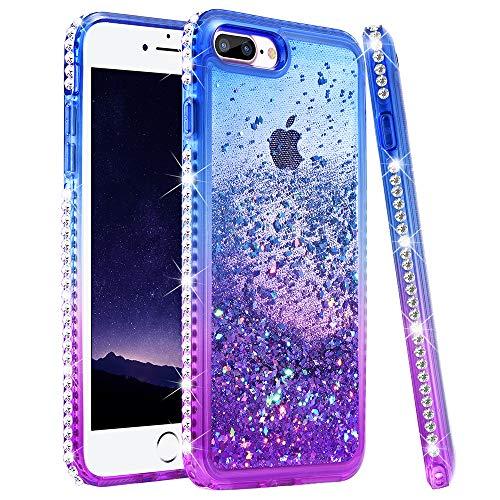 iPhone 7 Plus Case, iPhone 8 Plus Glitter Case, Ruky Colorful Quicksand Series Soft TPU Glitter Liquid Floating Bling Diamond Women Girls Case for iPhone 6 Plus/6s Plus/7 Plus/8 Plus (Blue Purple)