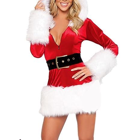 CHIC-CHIC Noël Mère Déguisement Femme Christmas Costume Robe Adulte  Combinaison (Blanc) 88b01586ec7