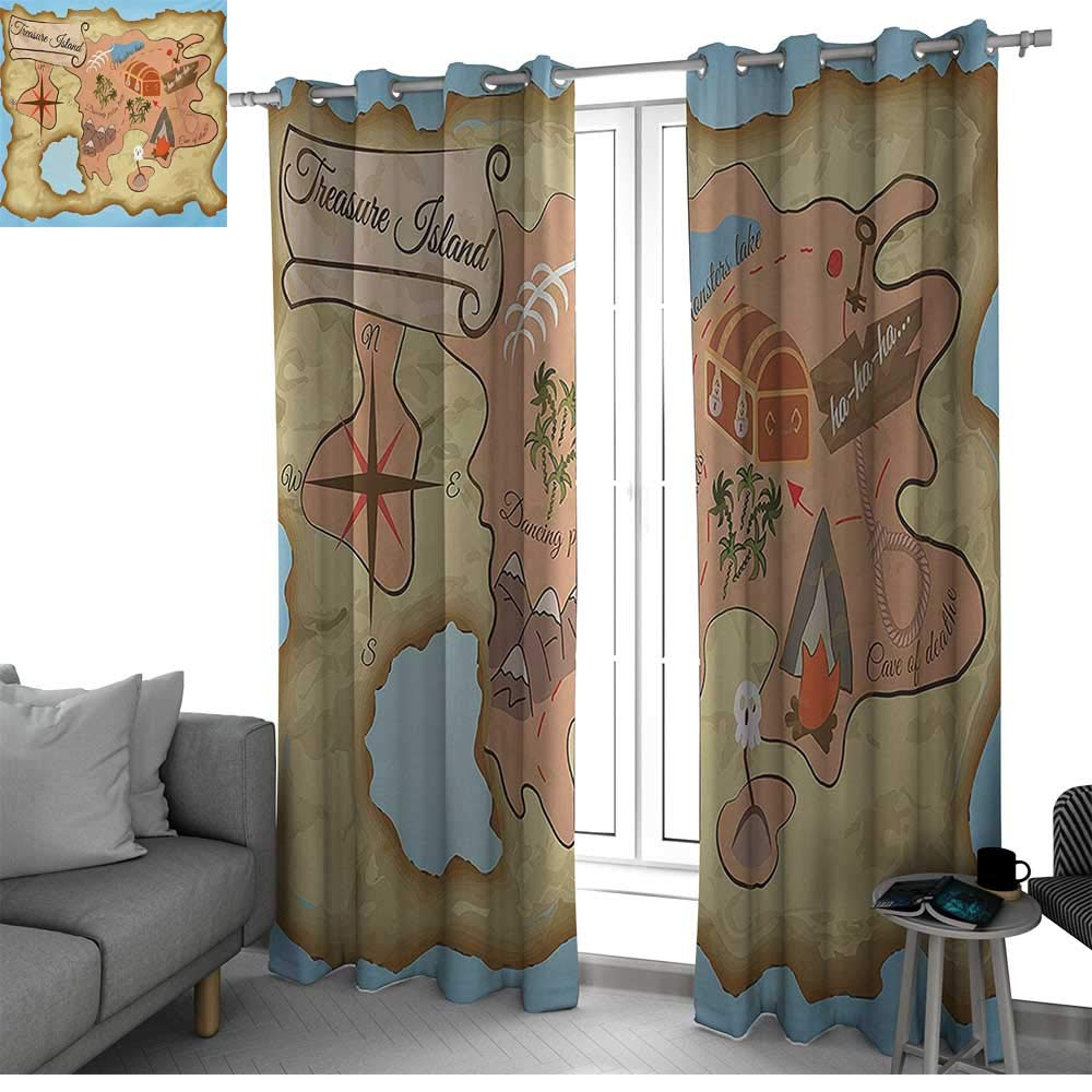 bybyhome Island Map Curtains for Sliding Glass Door Ancient Treasure Map of Tropical Beach with Chest Key Mystical World Theme Kids Room Decor Cream Pink Blue W96 x L108 Inch