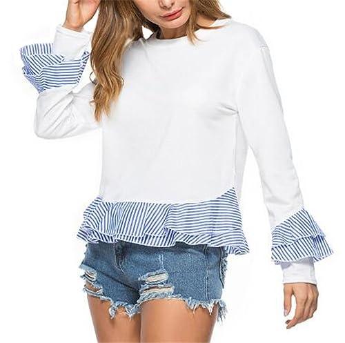 Aivosen Camiseta Con Manga Larga Mujeres Rayas Costura Camisa Blouses T Shirt Pullover Sudadera Cuel...