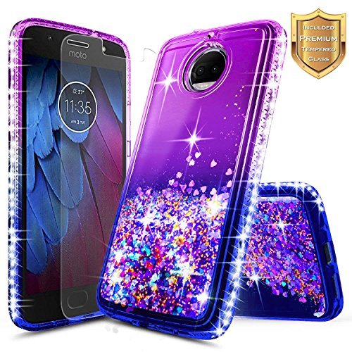 Moto G5S Plus w/[Tempered Glass Screen Protector], NageBee Glitter Liquid Quicksand Waterfall Flowing Shiny Sparkle Bling Diamond Girls Cute Case for Motorola Moto G5S Plus -Purple/Blue