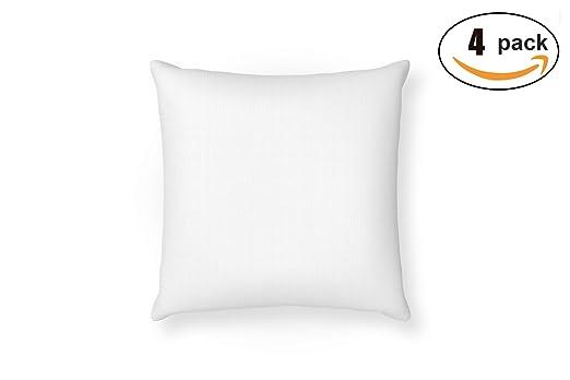 MOZKITA Pack de 4 Relleno Cojin 45x45 cm Blanco Cuadrado Fibra Hueca Resistente Firmeza Decoración Sofá Dormitorio Hogar Fabricados en España (4)