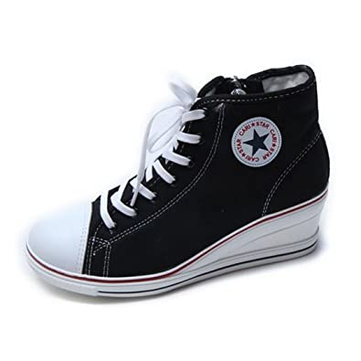 4b83178ee24 EpicStep Women s Black Canvas Shoes High Tops Zip Lace Up Fashion Sneakers  Platform Wedges 5.5 M