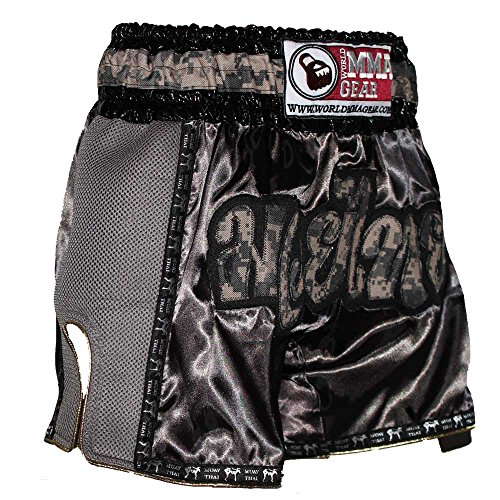 Retro Muay Thai shorts Camo Camouflage Kickboxing Thai boxing trunks by World MMA Gear (5XL (42