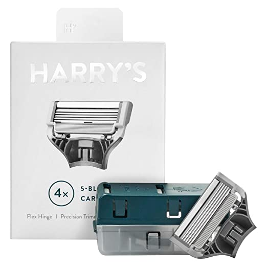 Harrys Razor Blades (1 Pack of 4) in Durable Hinged Water Friendly Travel Case