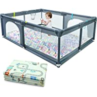 Baby Playpen with Folding Mattress Pad, Portable Playpen for Babies and Toddlers, Extra Large Play Yard, Safety…