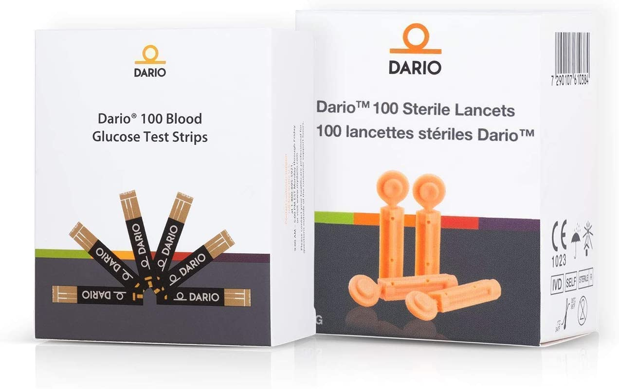 Dario Test Strips and Lancets Bundle Set (100 of Each) for Your Dario Blood Sugar Level Smart Monitoring Kit for Diabetes Care