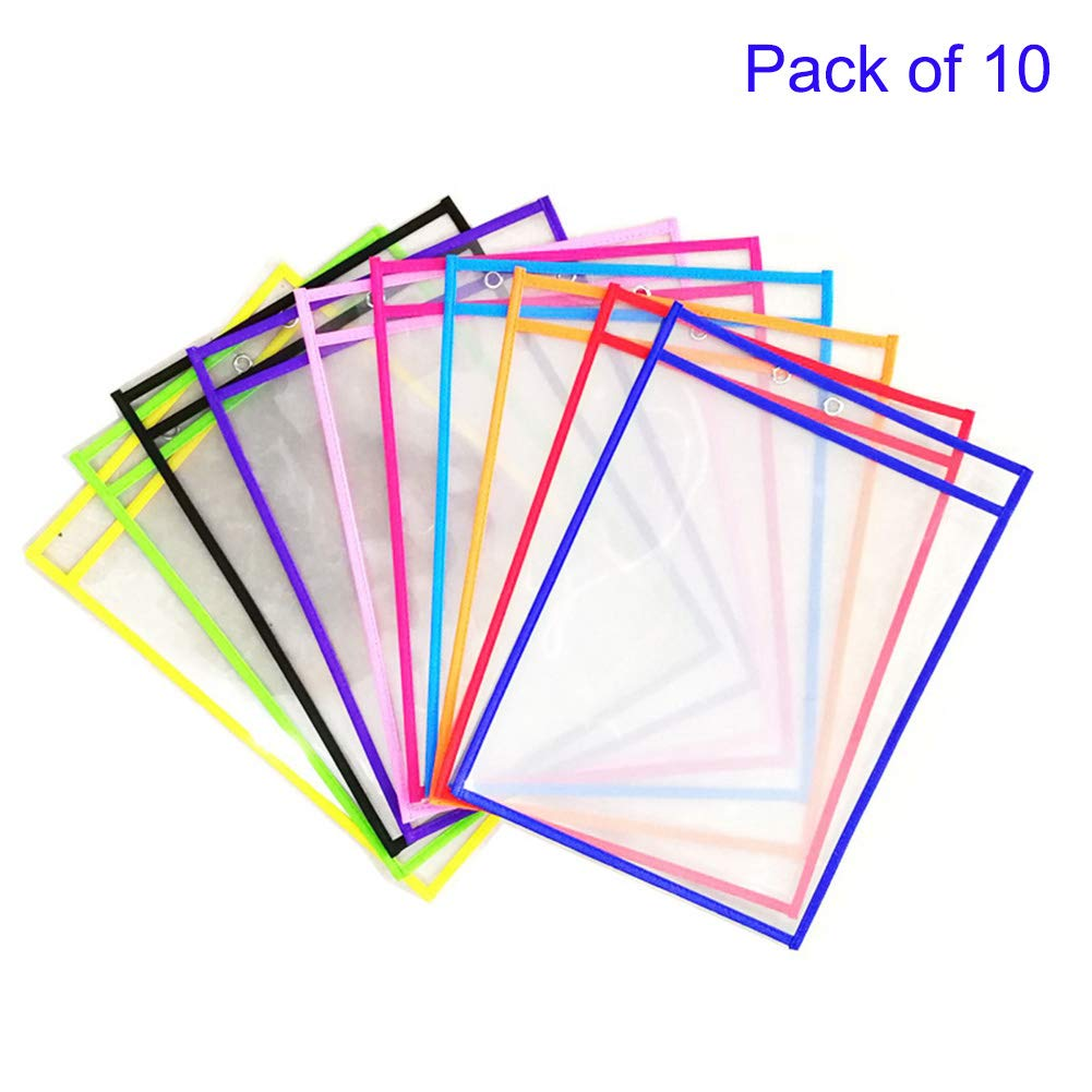 10 Reusable Dry Erase Pockets, Oversize 10'' x 13'' Pockets, Perfect for Classroom Teaching Learning Suppies, Ideal for Office and School Work