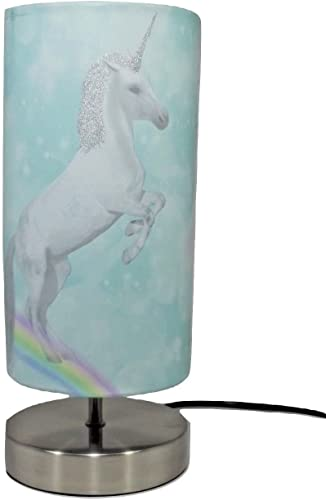 Unicorn Lamp Light Lampshade Bedside Table Desk Lamps Night Light Girls Kids Children S Bedroom Nursery Decor Accessories Teal Glitter Amazon Co Uk Lighting