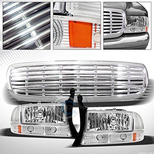 AutobotUSA Head Lights Compatible with Dodge Dakota/Durango 97-04 | Chrome Bumper Signal Amber with Grill Grille
