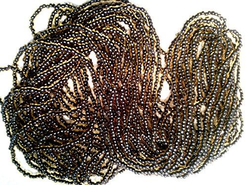 VTG Hank Black Lined Gold Glass Seed Bead 10/0#123017v