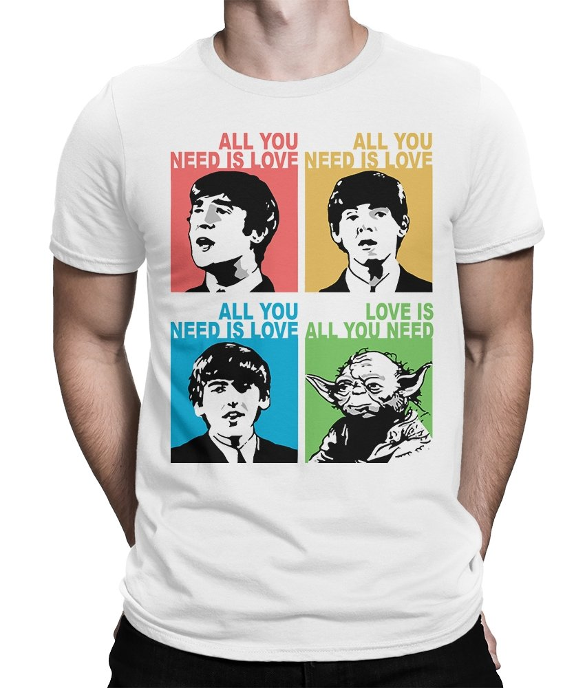 Love is All You Need Funny T-Shirt, Beatles Star Wars Combo Tee, (L - Male, White)