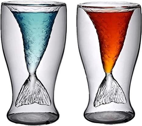 Amazon Com Mermaid Shot Glass 2 Pack 3 4oz Mermaid Cup Mermaid Wine Glasses For Women Funny Mermaid Mugs For Beer Whiskey Cocktail Double Wall Mermaid Tail Cup For Girls Or Men Gift
