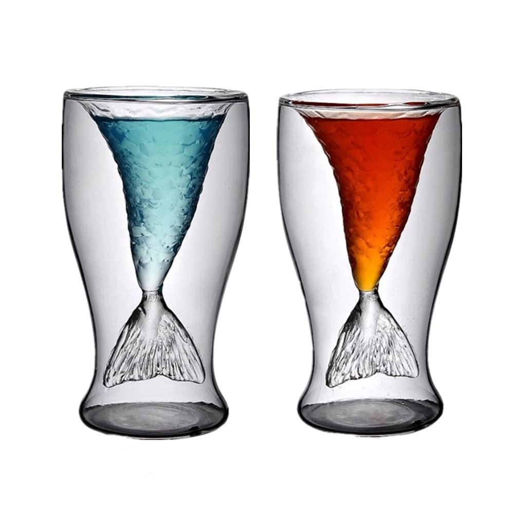 Mermaid Glasses Tail Cup,100ml Pack of 2 High Borosilicate Double Wall/Layer Crystal Mug for Beer,Red Wine,Ice Cream,Tea,Milk,Juice,Creative Whiskey/Cocktail Drinking Glassware,Clear Shot Glass