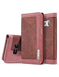 Galaxy S7 Edge Case, BELK [Ballistic] High Quality Canvas Wear Proof Robust Fabric Flip Wallet Case w 2 ID Card/Cash Slot for Samsung Galaxy S7 Edge - 5.5 inch, Strong Red Sack Bag