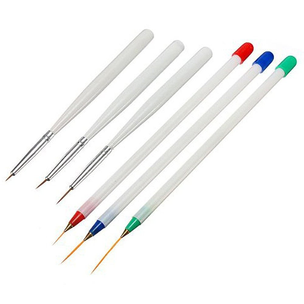 6pcs Acrylic Nail Art Pen Brush 3 Fine Drawing 3 Striping Liner Design Set, Nail Art Pen Elisona