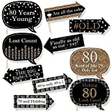 Big Dot of Happiness Funny Adult 80th Birthday - Gold - Birthday Party Photo Booth Props Kit - 10 Piece