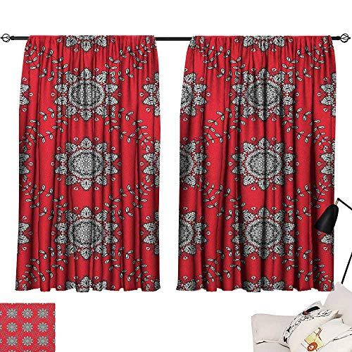 (Warm Family Red Mandala Decor Curtains Sketchy Leaves Swirl Ivy Victorian Mesh Design Inspired Image 70%-80% Light Shading, 2 Panels,55