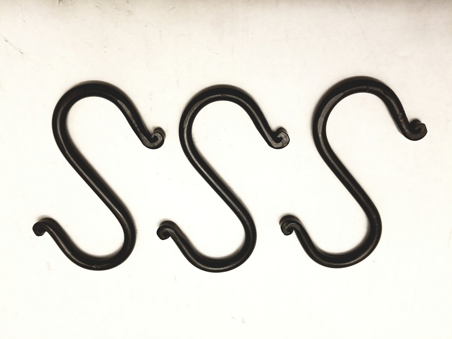 Wrought Iron Set Of 3 Small S'' Hooks - Each Hook is 3 3/4'' Long