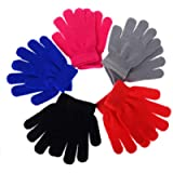 2/5Pairs of Children Kids Boys Winter Stretchy 5 Fingers Full Fingers Knitted Magic Gloves Suit