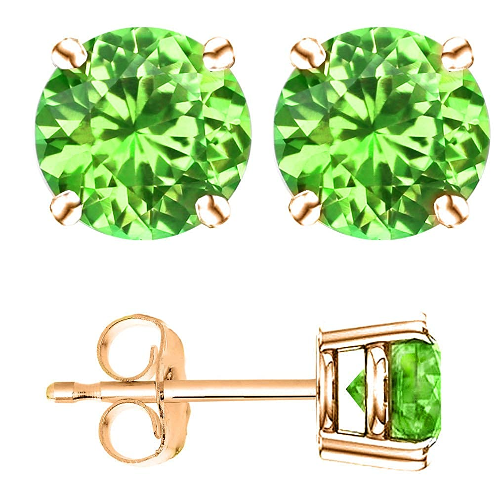 14k Gold Butterfly Backings /& Rose Gold Overlay Sterling Silver Basket Settings Round Cubic Zirconia Simulated Peridot Stud Earrings 1.00ctw