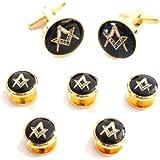 Masonic Shirt Dress Studs Box Set Five~Pack of 5 Gold Black Studs