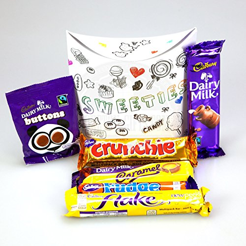 Cadbury Chocolate Sweeties Pouch - By Moreton Gifts - Buttons, Crunchie, Dairy Milk Caramel, Fudge, Flake And Dairy Milk Small Bar