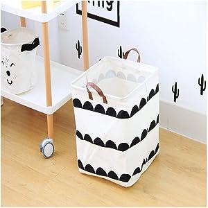 yqs Storage Box Storage Hamper Dirty Hamper Fashion and Simple Clothes Finishing Box Portable Folding Laundry Basket (33 X 33 X 31Cm),Arrowhead Black and White,Semicircle