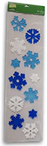 Holiday Decor Christmas Winter Gel Window Clings - Blue and White Snowflakes - 12 Piece