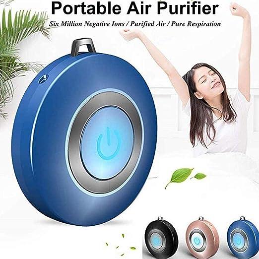 MSYR Collar portátil de purificador de Aire de bajo Ruido, ionizador de Aire Fresco portátil Generador de Iones Personal portátil, USB portátil para niños y Adultos Purificador de Iones (Azul): Amazon.es: Hogar