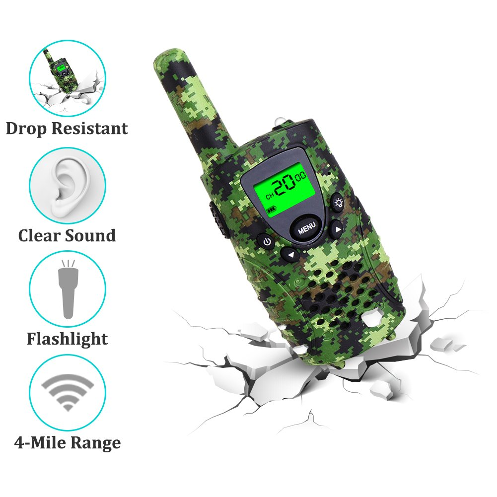 Walkie Talkies for Kids, FAYOGOO 22 Channel Walkie Talkies Two Way Radio 3 Miles (Up to 4 Miles) Long Range Set Mini Walkie Talkies for Kids, Toys for 3 Year Old Up Boys and Girls (Camo Green) by FAYOGOO (Image #3)