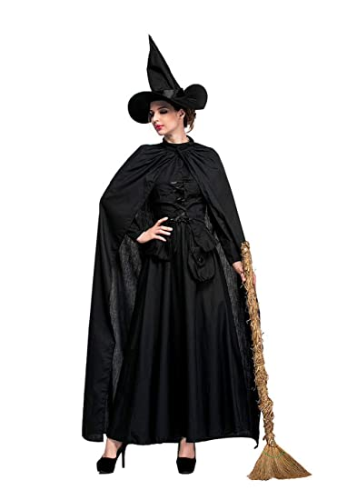 Amazon Zqy Womens Black Witch Costume With Cape Victorian