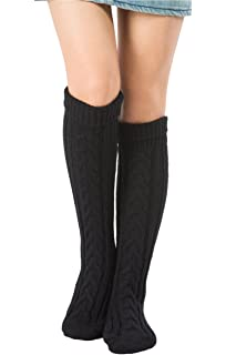 a57792215 SherryDC Women s Cable Knit Long Boot Stocking Socks Knee High Winter Leg  Warmers