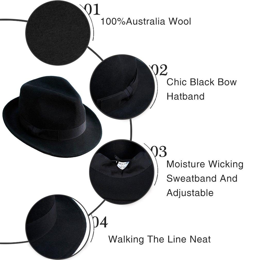 Wool Trilby Hat Men Women Felt Fedora Hats Panama Classic Manhattan  Structured Black Band larger image c6db566c18