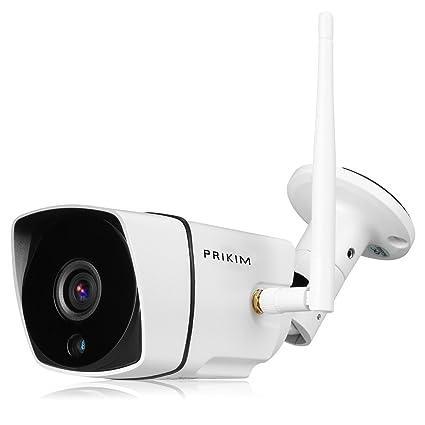 PRIKIM 720P inalámbrico WiFi Bullet cámara IP, visión Nocturna IR, Impermeable, Alarma de