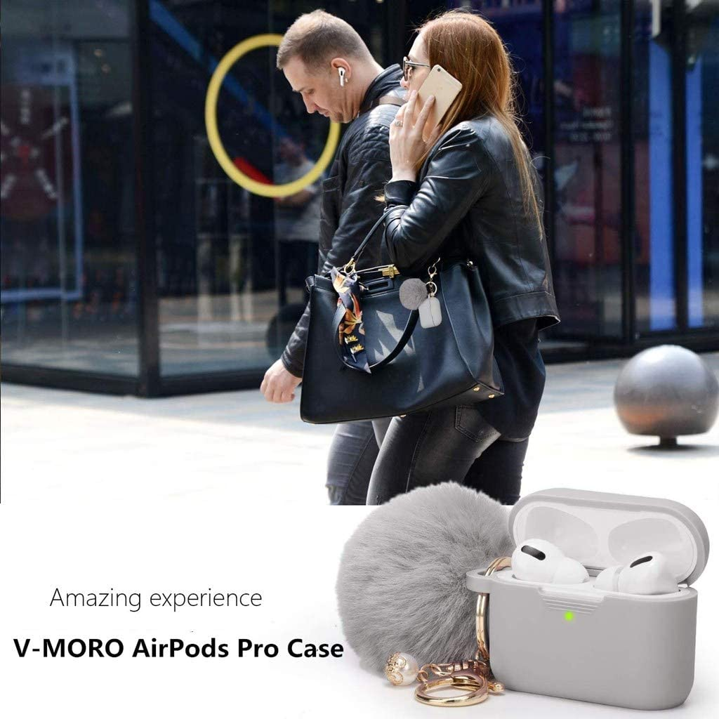 V-MORO AirPods Pro Case Silicone Compatible with Apple AirPods Pro 2019 Full Protective case Cover Purple