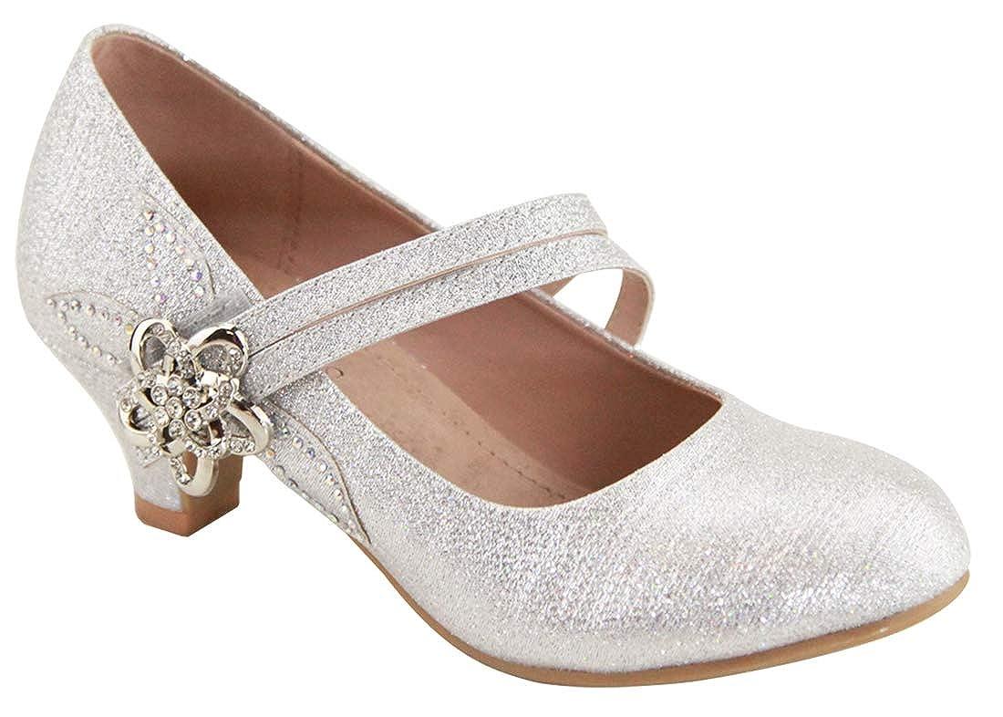 97621c686 Amazon.com   MVE Shoes Girl Dress Cute Low Heel Sparkle Shoes - Ankle Strap  Classy Shoes, sassie-31k Silver 4   Shoes