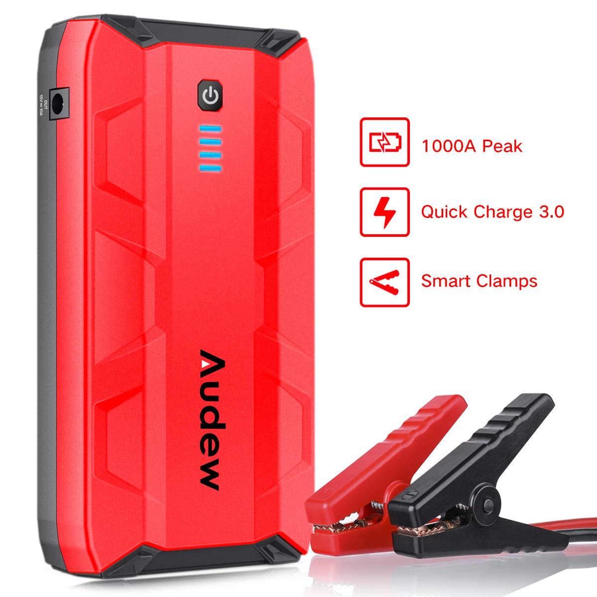 Audew Car Battery Charger,Jump Starter Battery Booster 10800mAh 12V 1000A Peak, Battery Jumpstarter, Portable Charger Emergency Power Bank with LED Flashlight and Dual USB Outputs,for Automotive,Boat