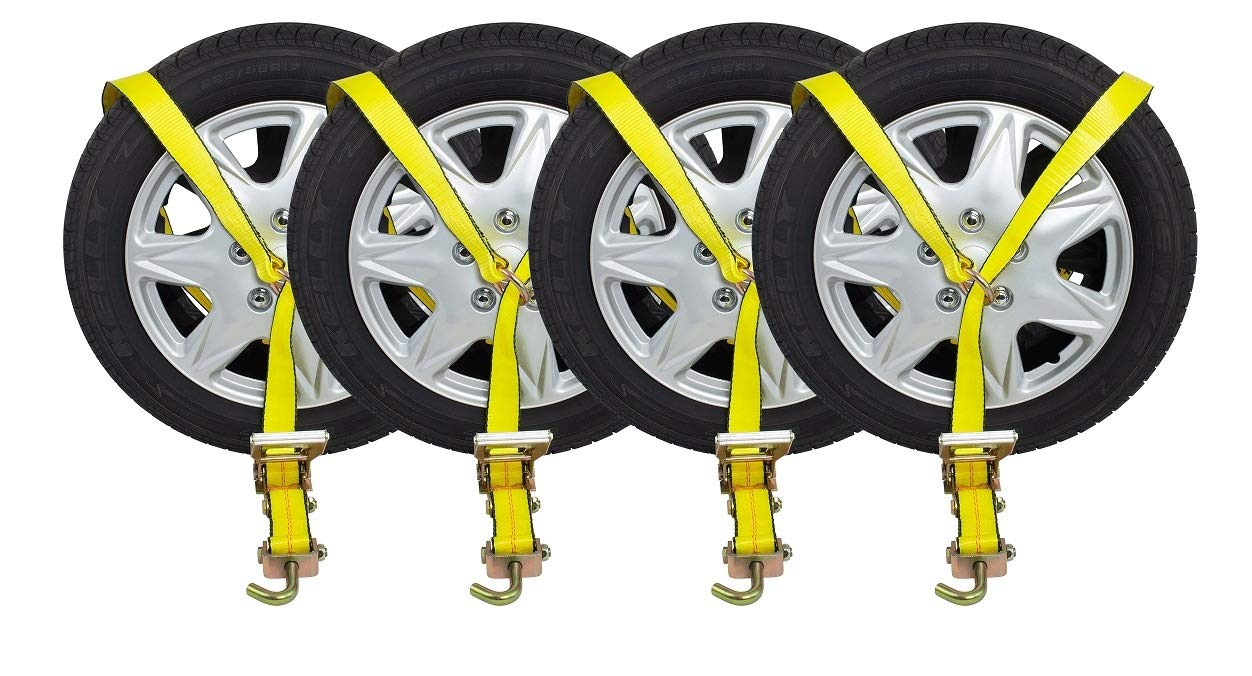 Mytee Products (4 Pack) 2'' x10' Lasso Ratchet Strap Finger J Hook Wheel Net Auto Tow Towing Tie Down by Mytee Products